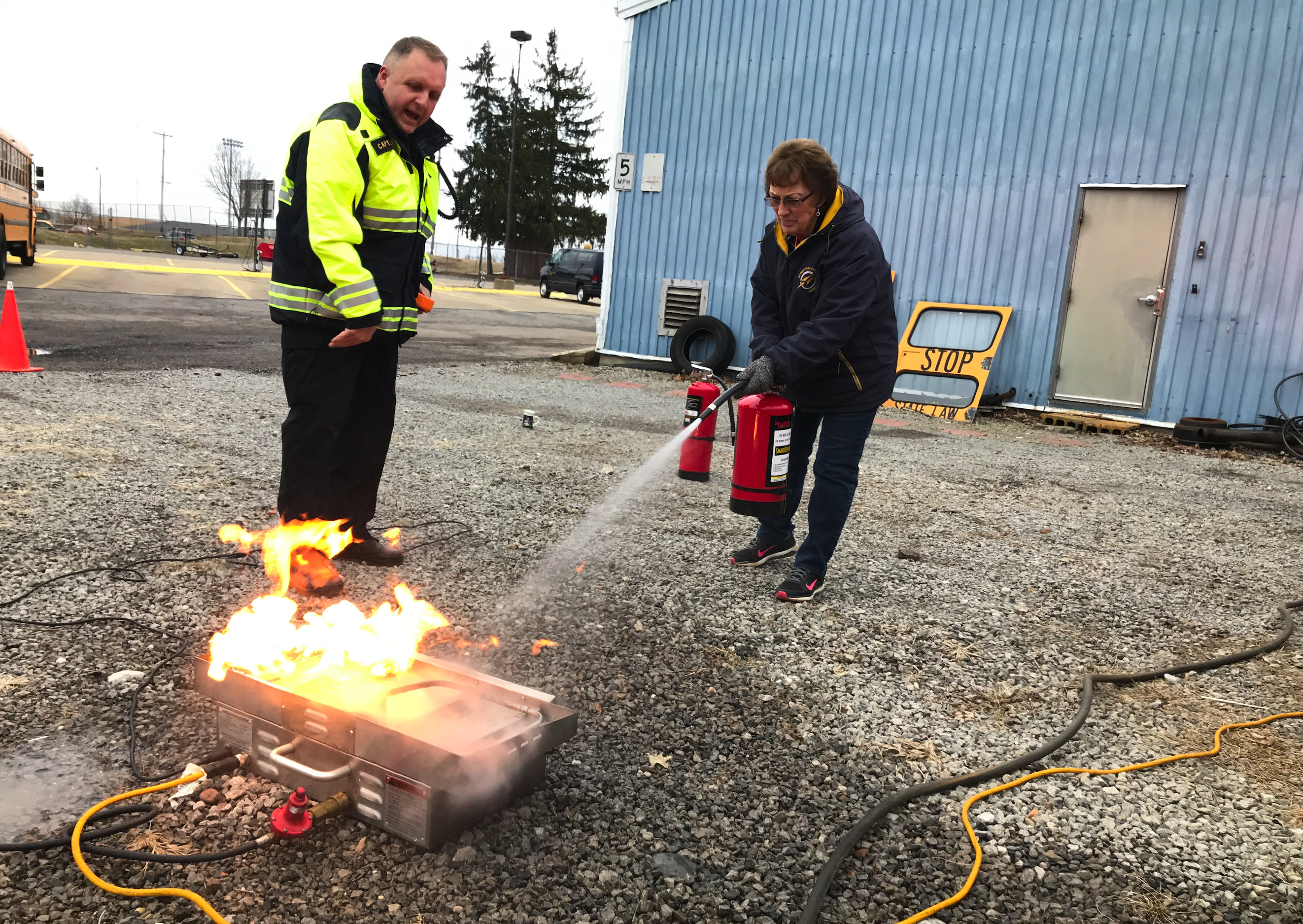 SCS | Transportation Team Engaged in Fire Extinguisher Training
