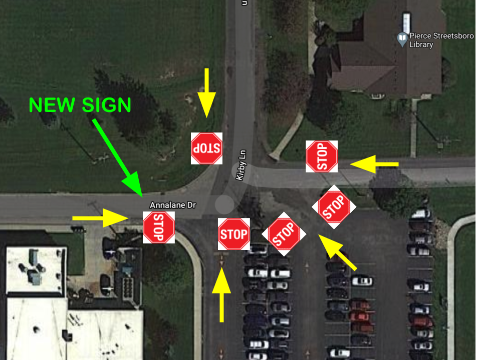 Kirby & Annalane Stop Sign Locations